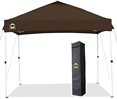 CROWN SHADES 10x10 Pop up Canopy Patented One Push Outside Canopy, Upgrade Version Tent Canopy with 300D Silver Coated Top, Wheeled Bag, 8 Stakes and 4 Ropes, Coffee