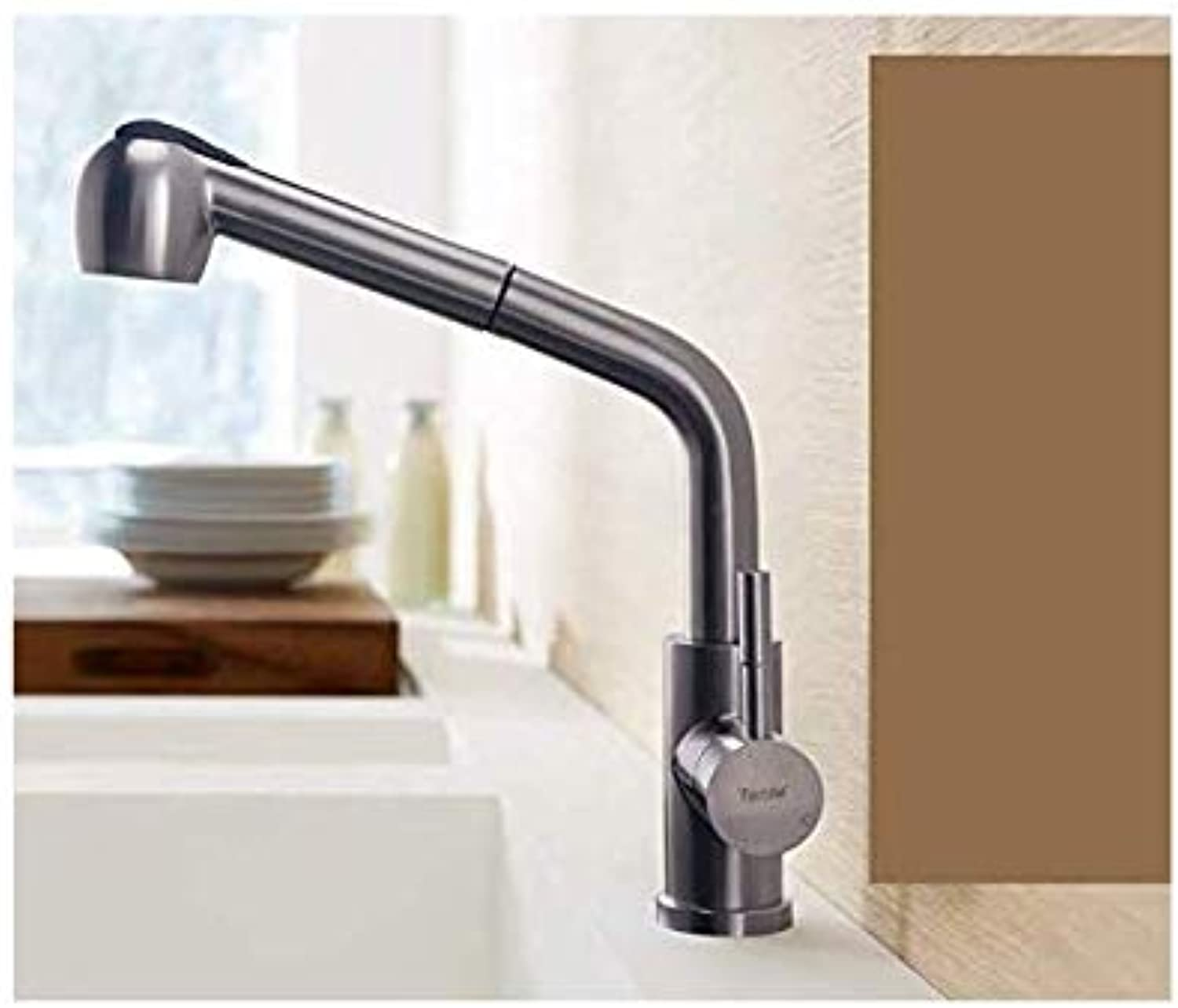 Kitchen Fauct Kitchen Pull-Type Sink Faucet Universal Hot and Cold Household Sink Stainless Steel redating