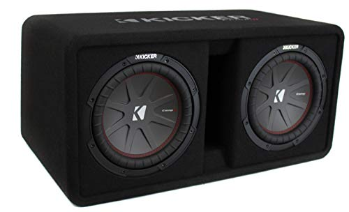 Kicker 43DCWR102 CompR 10 Inch 1600 Watts 2-Ohm Vented Dual Loaded Car Subwoofer Enclosure Sub Box with Santoprene Surround and Polypropylene Cone