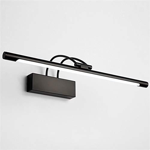 XFXDBT Spiegel Frontlicht LED 12w Schwarz,trendiger Bilderleuchte 180° Drehbar Wasserdicht IP44 Wandleuchte Badlampe-kühles Weiß 55cm-12w