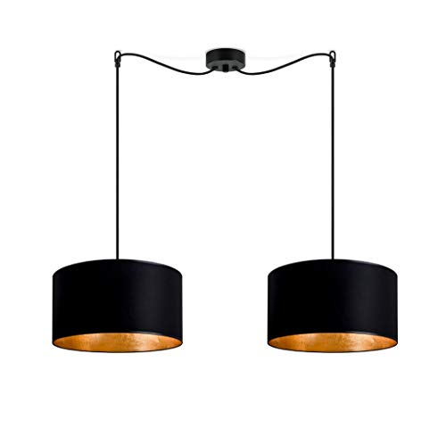 Sotto Luce Mika M 2/S Lámpara Colgante de 2 Luces con 2 Pantallas de Tela de Diseño, Cables Textiles y 2 Portalámparas E27, Estilo Moderno, Negro/Pan De Oro Imitación