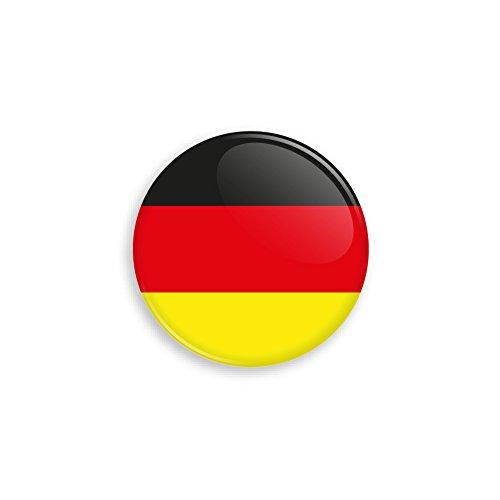 Button mit Deutschland Flagge als Anstecker mit Nadel oder Magnet als Auswahl, 38 mm Durchmesser – Für Fußball WM, Themen Partys und Feiern oder als Geschenk - Magnet