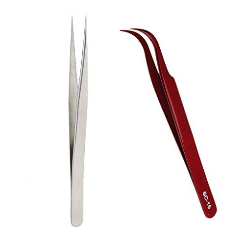 Sharplace Lot 2pcs Pince à Epiler Droite et Coubée Anti-statique à Cils Extension - Pincette Inox à Pick-up Nail Art Strass/Fichier/Cristal