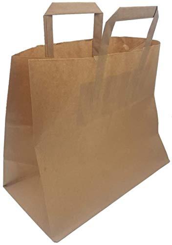 Enpack - 250 Papiertragetaschen in braun 26+17x26 cm - mit Henkel - to Go Taschen - Wiederverwendbar - Recycelbar - Kraft Tüten - Papierbeutel - Supermarkt Taschen