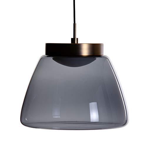 Lámpara de techo tulipa de metal y cristal negra y dorada de Ø 30x24 cm - LOLAhome