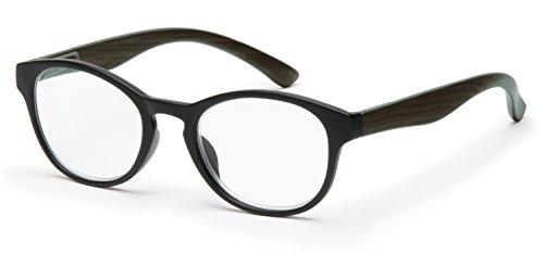 Filtral runde Lesebrille in Pantoform/Moderne Lesehilfe aus Kunststoff mit Federbügel/Vollrand in schwarz, 2,00 dpt. F4542696
