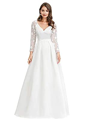 Women's Floral Lace Sleeveless Wedding Party Dress Evening Gowns White US16