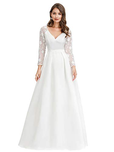 Ever-Pretty Women's Elegant Wedding Dress Floral Lace See-Through Maxi Dress for Bride White US20