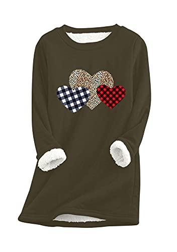 Yming Suéter de pelo de cordero para mujer, cálido, manga larga, cuello redondo, Verde militar., XXXL