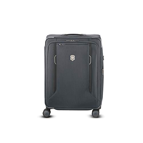 "Victorinox WT 6.0 Softside Spinner Luggage, Grey, Checked-Medium (24"")"