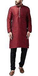 Sojanya (Since 1958) Mens Maroon Jacquard Silk Kurta and Black Churidaar Pyjama SET