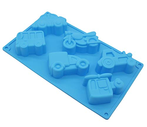 X-Haibei Vehicles Car Soap Silicone Mold Crayon Cake Jello Chocolate Fimo Kids Favor 2oz per Cell