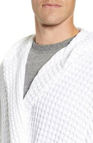 Daniel Buchler Men's L/XL White Hooded Waffle Knit Cotton Robe