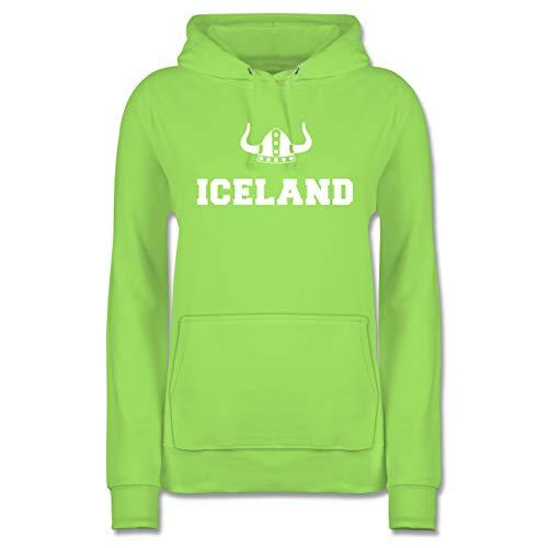 Länder - Iceland + Wikingerhelm - S - Limonengrün - Wikinger Pullover - JH001F - Damen Hoodie und Kapuzenpullover für Frauen