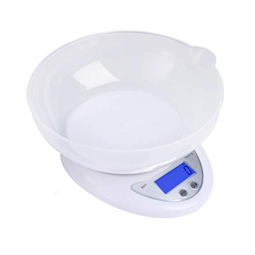 NXACETN Balance de cuisine numérique avec bol, pesage alimentaire pesant jusqu'à 5 kg, avec fonction tare, grand écran LCD pour la cuisine et la pâtisserie
