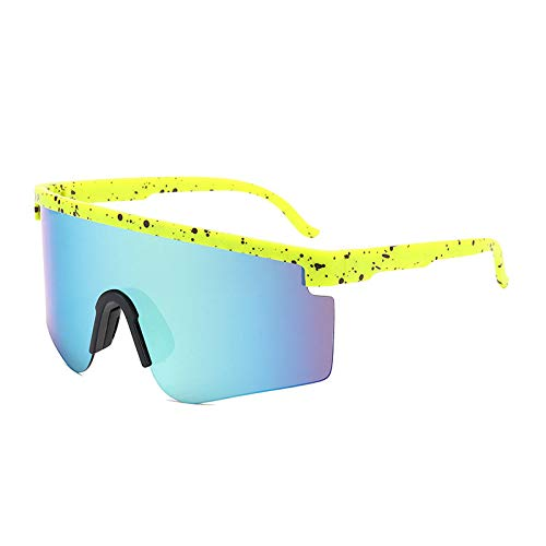 Gafas De Sol Polarizadas para Hombres Lente Azul De Moda Ligera, Puntos Negros, Amarillo, Medio Marco, Gafas De Sol, Gafas De Ciclismo para Exteriores, Deportes, Conducción, Ciclismo, Gafas