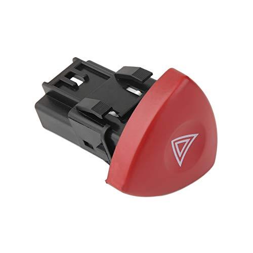 Interruptor de luz de advertencia de emergencia intermitente de advertencia Warnblinker Schalter para Renault Laguna Master Trafic II Vauxhall 01-14 - Negro + Rojo