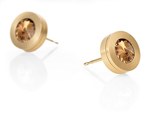 Heideman Ohrringe Damen Colori aus Edelstahl gold farbend matt Ohrstecker für Frauen mit Swarovski Stein Kristall bernstein braun im Fantasie Edelsteinschliff 6mm