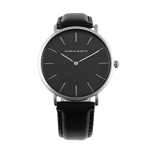 Unise Reloj de pulsera Moda para hombre Reloj de cuarzo para mujer Hannah Ch02 Reloj de pulsera unissex Reloj deportivo informal Reloj de pulsera de diseño simples Plata y cuero negro