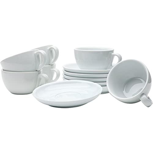 Gastro Spirit - 12-teiliges Cappuccino-Tassen / Kaffee-Tassen Set - Weiß, 200 ml, Porzellan, dickwandig, spülmaschinenfest, italienisches Design
