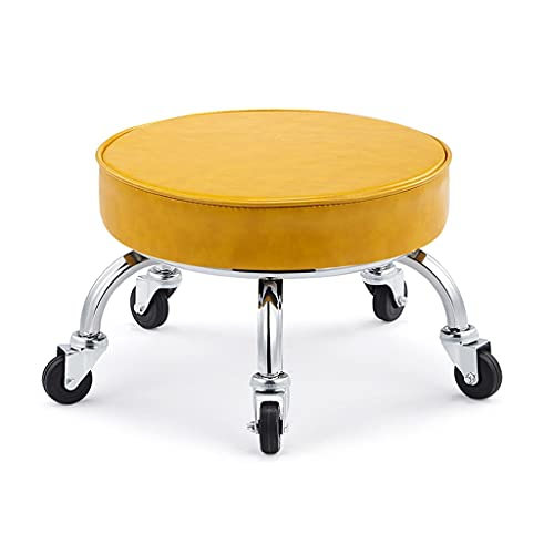 QFdd Footrest Ottoman Footstool Low Bench, Padded Cushion Seat With Wheels 22cm Round Housework Stools For Child Adults