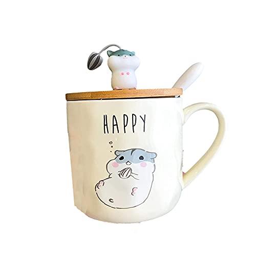 Desayuno, Leche, Cola, Taza, té, Vidrio, Taza, Dibujos Animados creativos, Simple, hámster, Taza, Linda Taza Personalizada con Tapa, Cuchara, hogar