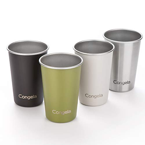 Congela 16oz 4Pack premium stainless steel pint cups set, single wall stackable beer mug glasses...