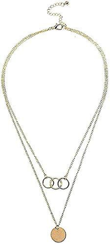 ZGYFJCH Co.,ltd Collar Moda Tres Anillos Multi Capa Redondo S Personalidad Cadena de clavícula Novia Enviar