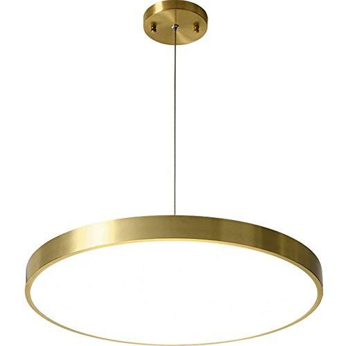 Luz de techo ultra-delgada minimalista 26W LED redondo Luces colgantes Lámparas de latón dorado Dia 40 cm con lámpara de colgante de pantalla acrílica con helada para el dormitorio Comedor de la sala