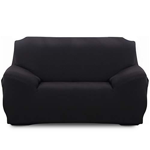 Sofabezug, elastisch, waschbar, 3-Sitzer, mit Armlehnen, einfarbig, schützt Sofa, rutschfest, Sofaüberwurf, L-Form, Sessel, Stretch, mit 2 Kissenbezügen
