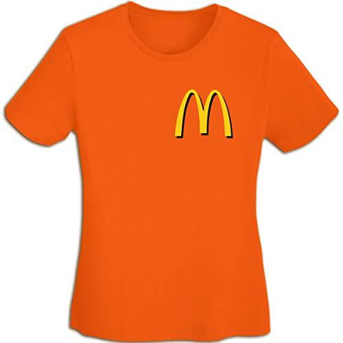 Damen Plain-Mc-Donalds-Logo Logo Merch Kurzarm Bekleidung T-Shirt V-Ausschnitt Tee T Shirt Baumwolle Sommer für Frauen Orange XL