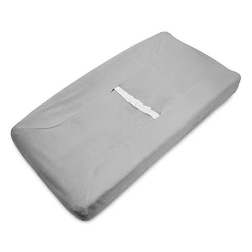 TL Care Heavenly Soft chenille Fitted Contoured Changing Pad Cover, Gray by TL Care