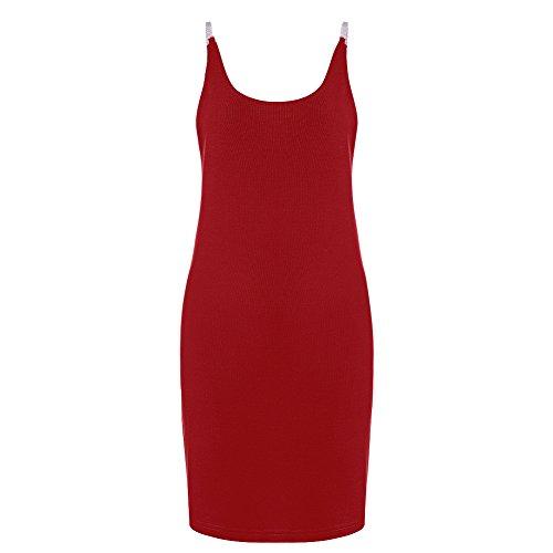 Women's Sexy Backless Basic Sleeveless Slim Vestidos Vest Tanks Bodycon Dress Strap Solid Party Dress,Wine Red,XX-Large