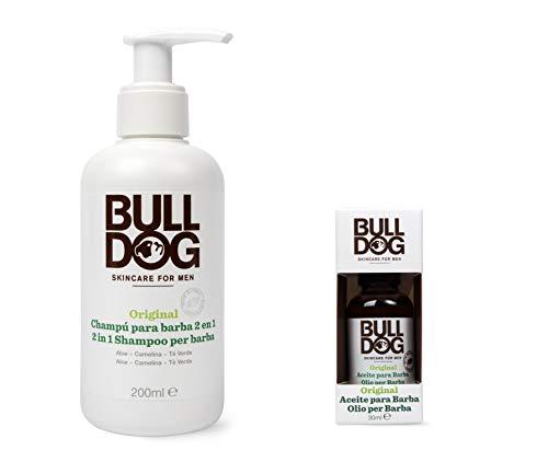Bulldog Cuidado Facial para Hombres - Kit Rutina Cuidado de Barba Corta, Champú & Acondicionador de Barba 200 ml + Aceite para Barba 30 ml