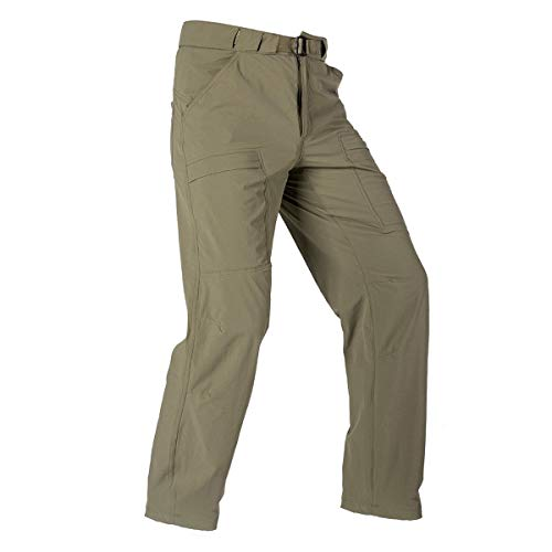 FREE SOLDIER Men's Outdoor Cargo Hiking Pants Lightweight Waterproof Quick Dry Tactical Pants Nylon Spandex (Mud, 38W x 32L)