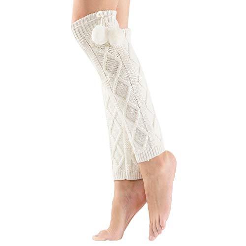 FRAUIT Damen Mädchen 1 Paar Beinwärmer Stulpen Legwarmers Overknees gestrickte Strümpfe Warm Knit Beinlinge Crochet Leggings Twist Loch Slouch Boot Socken