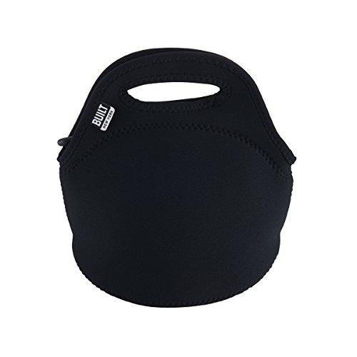 BUILT Gourmet Getaway Mini Soft Neoprene Lunch Tote Bag-Lightweight, Insulated and Reusable Black LB10-BLK
