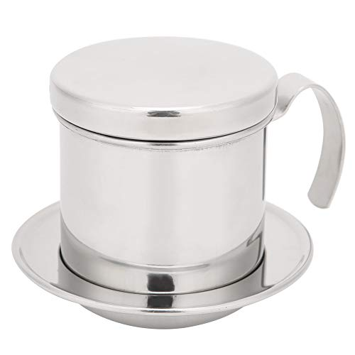 Hopcd Vietnamese Drip Coffee Maker, Portable Single Cup Coffee Drip Brewer Best Gift Choice for Baristas and Coffee Lovers(Bright Silver)
