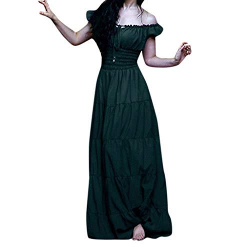 Lazzboy Kostüm Kleid Frauen Vintage Celtic Medieval Maxikleid Damen Mittelalter Trompetenärmel Gothic Prinzessin Kleider Für Karneval Fasching Cosplay Party(Grün,3XL)