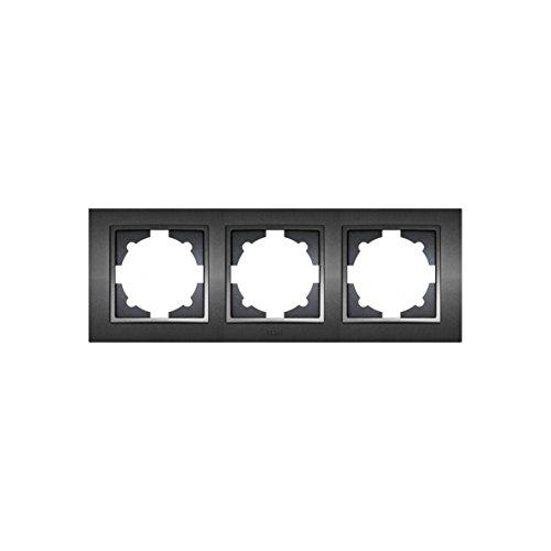 EL-BI Schalterserie ZENA anthrazit UP Schalterprogramm Schalter Serie Programm Steckdose schwarz (Rahmen 3-fach)