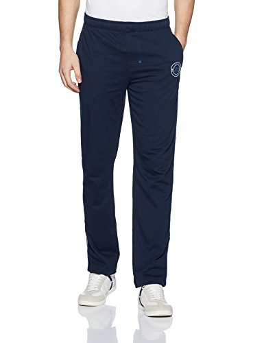 Jockey Men's Cotton Track Pants (9501-0103-NV-NW_Navy, Neon Blue and White_L)