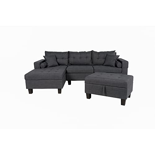 Home Deluxe - Sofagarnitur Rom Rechts - Farbe Grau - 242,6 cm x 154,3 cm x 90,8 cm - inkl. Hocker | Sofagarnitur, Sofa, Couch, Wohnlandschaft