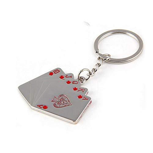 ZZH Porte-clés de Voiture, Porte-clés Automatique d'accessoire de Moteur de Mode Unique d'argent de Poker