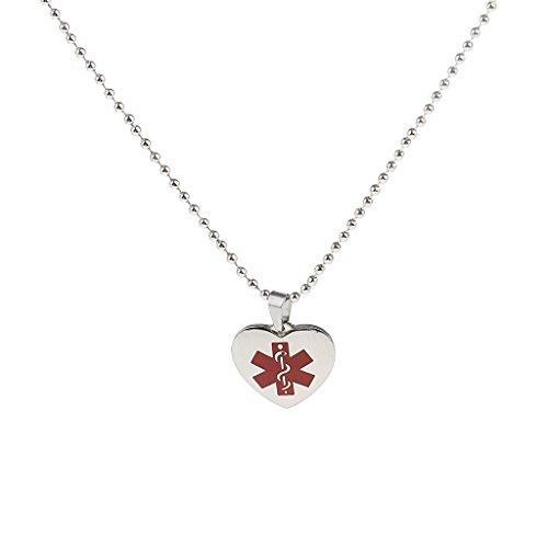 kowaku Collares con Colgante de Corazón de Identificación de Alerta de Acero Inoxidable con Cadena de Bolas