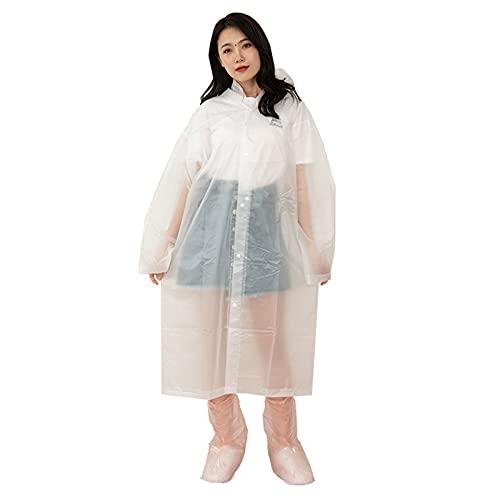 JQAM Grubsze zestawy poncza przeciwdeszczowe, pokrowiec na buty EVA przenośny wodoodporny płaszcz przeciwdeszczowy z kapturem ze sznurkiem przedni przycisk do podróży na zewnątrz (Color : White)