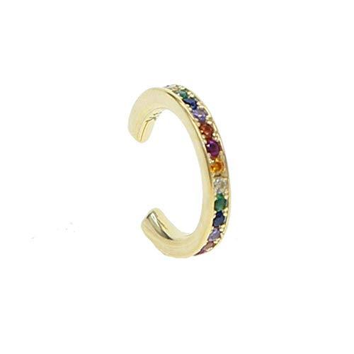 Europese en Amerikaanse Mode Sieraden-925 Sterling Zilver Dainty Oorbel Minimaal Delicate Goud Kleur Kleurrijke Regenboog Vrouwen Multi Piercing Oorbellen, Thumby Cuff a Piece