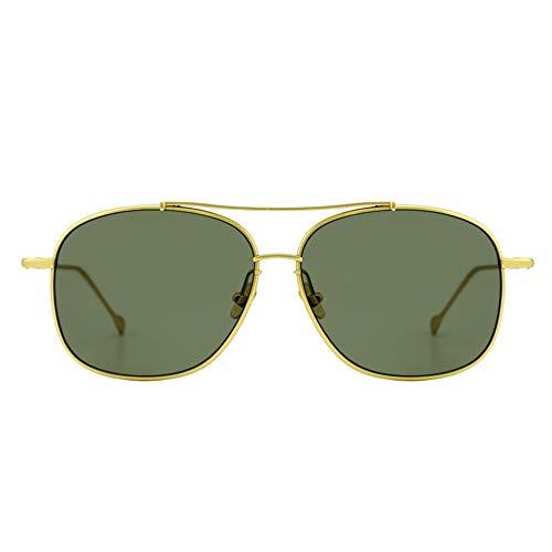 Sunglass Fashion Gafas de Sol Titanium puras de la protección Unisex UV400 de la Moda de Las Gafas del Marco Grande Redondo (Color : Gold)