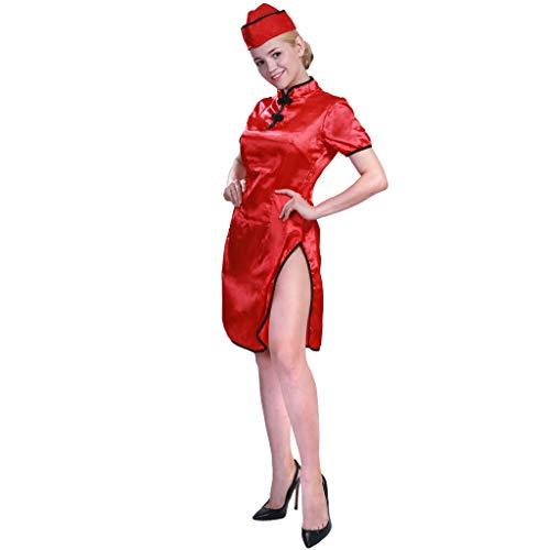 EraSpooky Chinesisch Damen Kimono Orientalisches Kostüm Kleid Rot