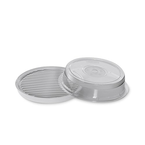 Nordic Ware Microwave 2-Sided Round Bacon and Meat Grill and 10-Inch Deluxe Microwave Plate Cover by Nordic Ware