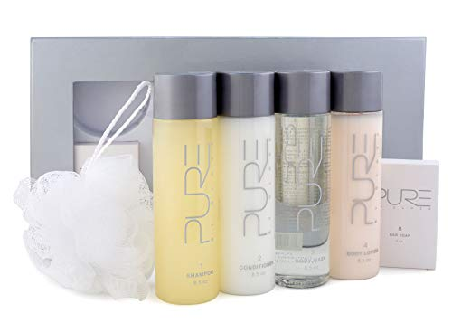 Pure by Gloss Gift Set – 6-Piece Luxury Collection w/Shampoo [8.5oz], Conditioner [8.5oz], Body Wash [8.5oz], Body Lotion [8.5oz], Body Bar [4.0oz] & Loofah – Fresh Lemon Scent